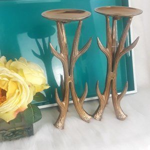 Antler Candle Holders Pair
